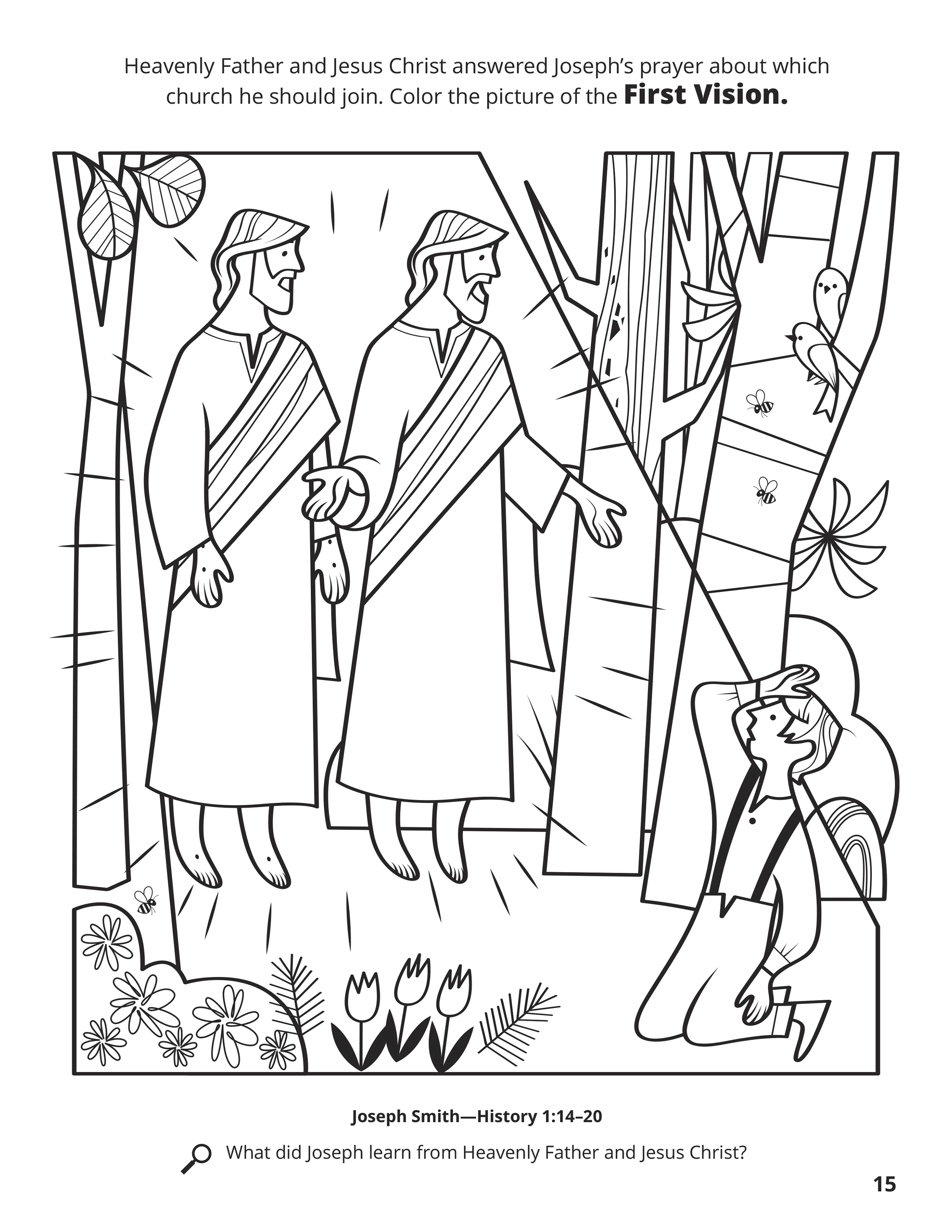 Joseph Smith First Vision Coloring Page : joseph, smith, first, vision, coloring, First, Vision
