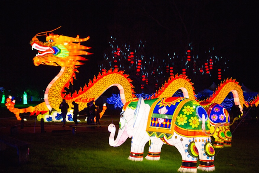 See Chinese Lanterns Shaped Like A Huge Dragon And A Life