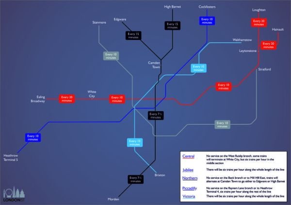 A Map Of Night Tube Train Frequencies Londonist