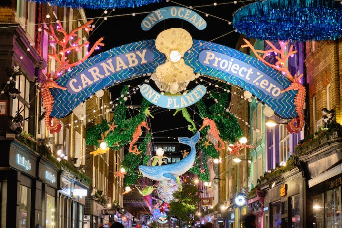 Carnaby Street's ocean themed Christmas lights