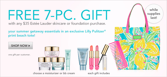 Free 7-Piece Gift, with any $35 Estee Lauder skincare or foundation purchase, your summer getaway essentials in an exclusive Lilly Pulitzer print beach tote! while supplied last! Shop Now, one gift per customer, choose a moisturizer or bb cream, each gift includes