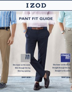 Izod pant fit guide classic sits on waist easy through the leg also men   macy rh macys