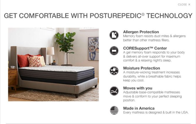 Get Comfortable With Posturepedic Technology Allergen Protection Memory Foam Resists Dust Mites And Allergens