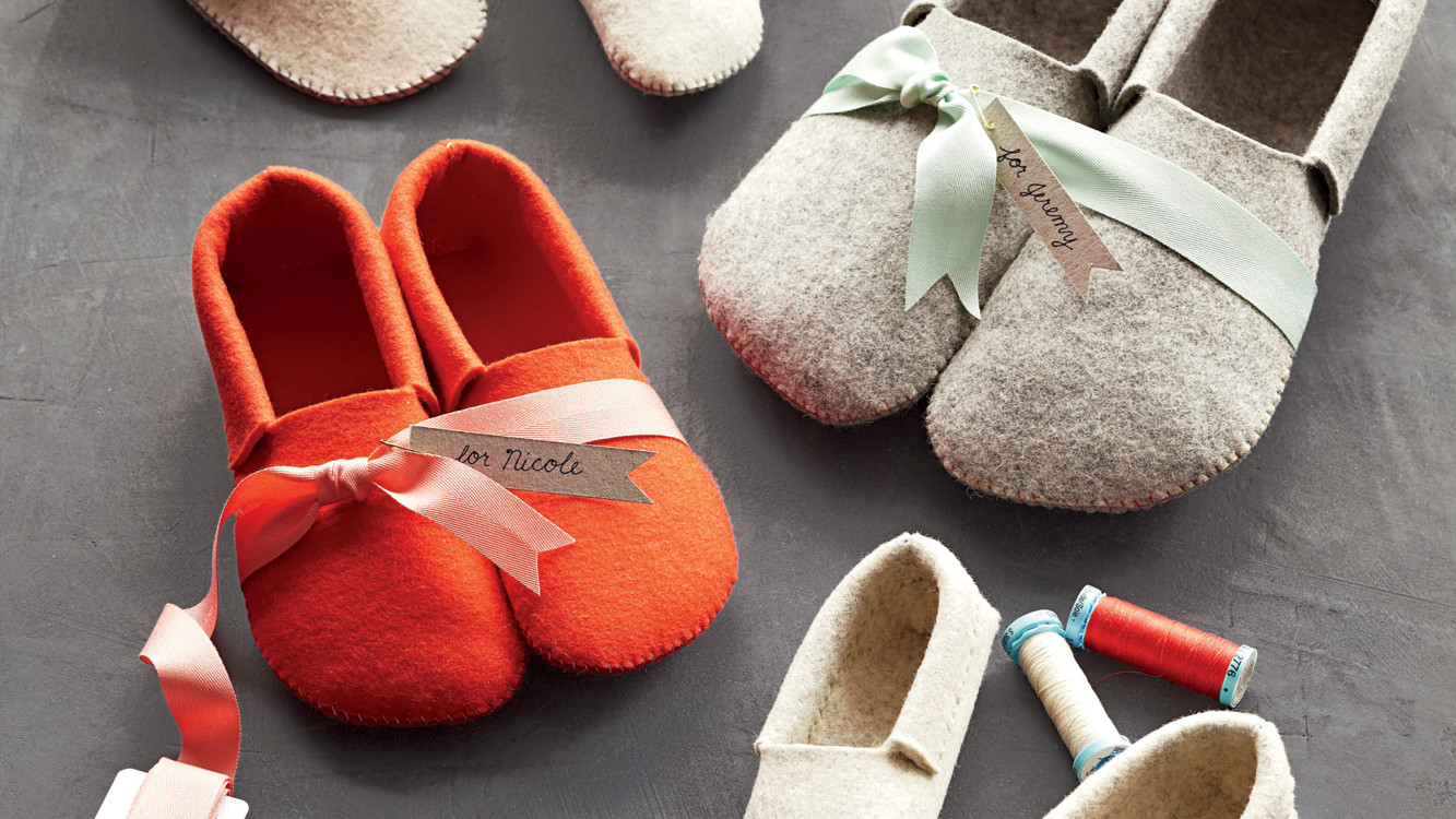 Stephanies Sewn Felt Slippers  Martha Stewart