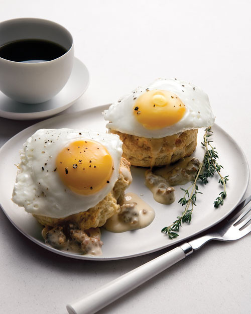 Biscuits Eggs Poached