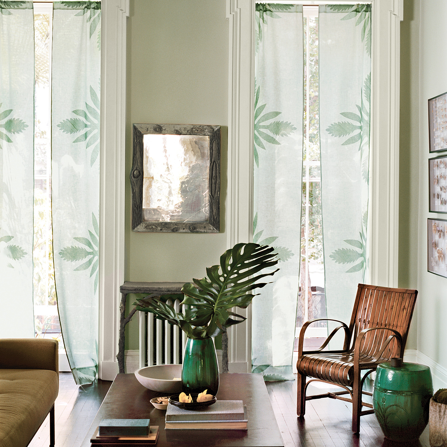 NoSew Applique Curtains with Ginger Flower Print  Martha Stewart