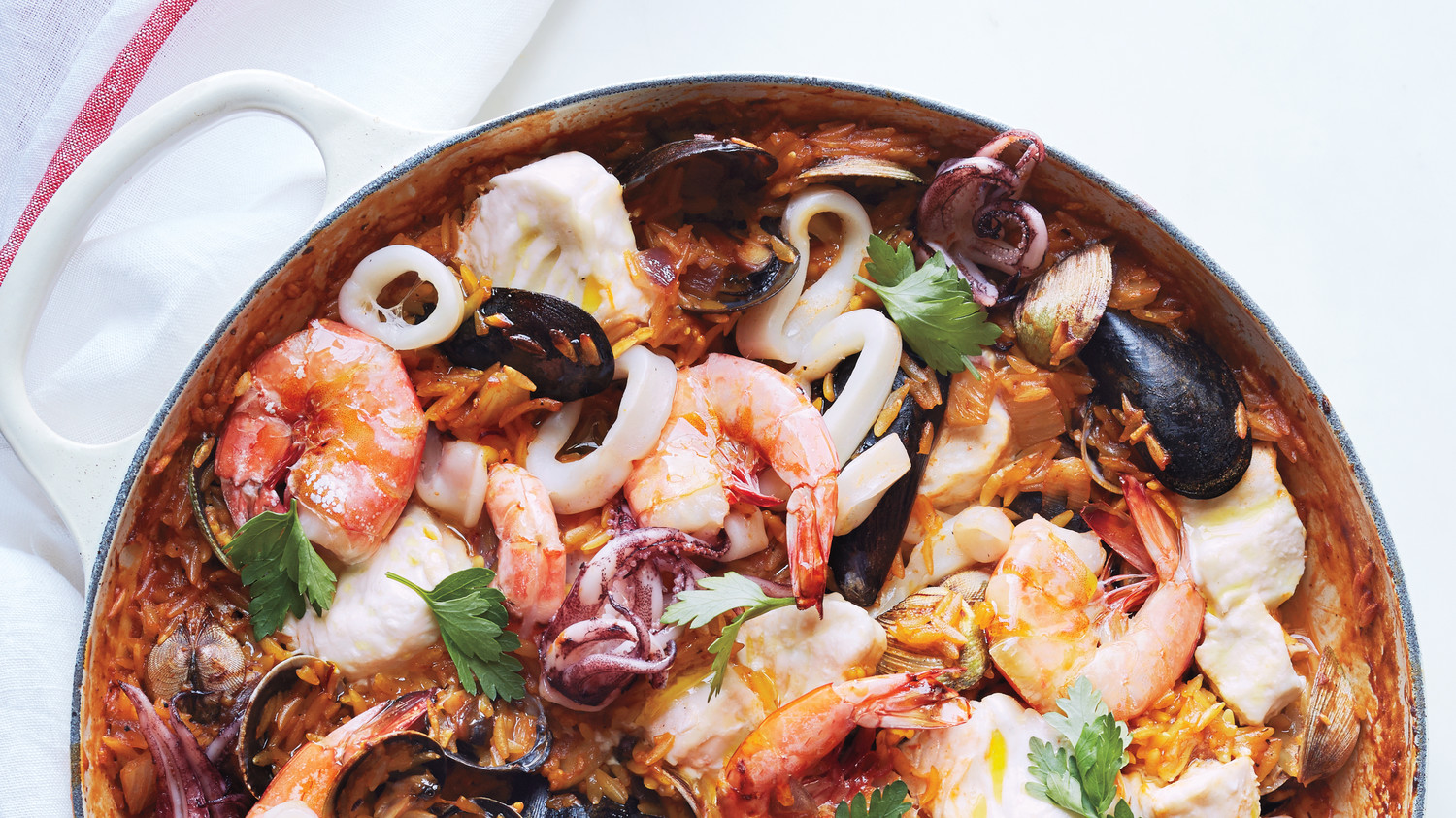 One Pot Seafood Orzo Risotto