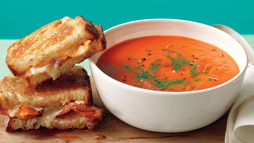 Tomato Soup with Bacon Grilled Cheese Recipe  Video  Martha Stewart