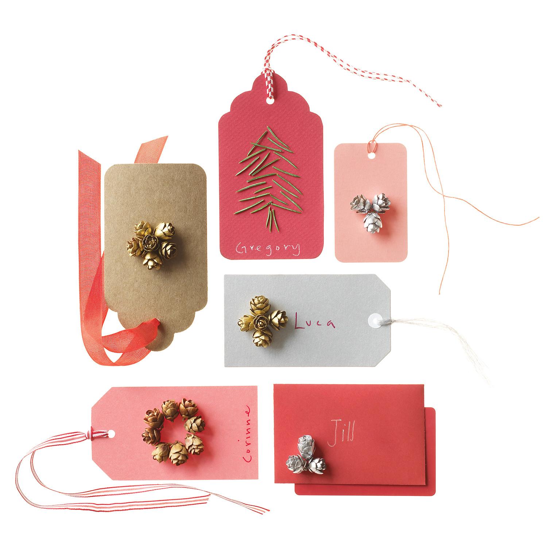 Pinecone Embellished Gift Tags Martha Stewart