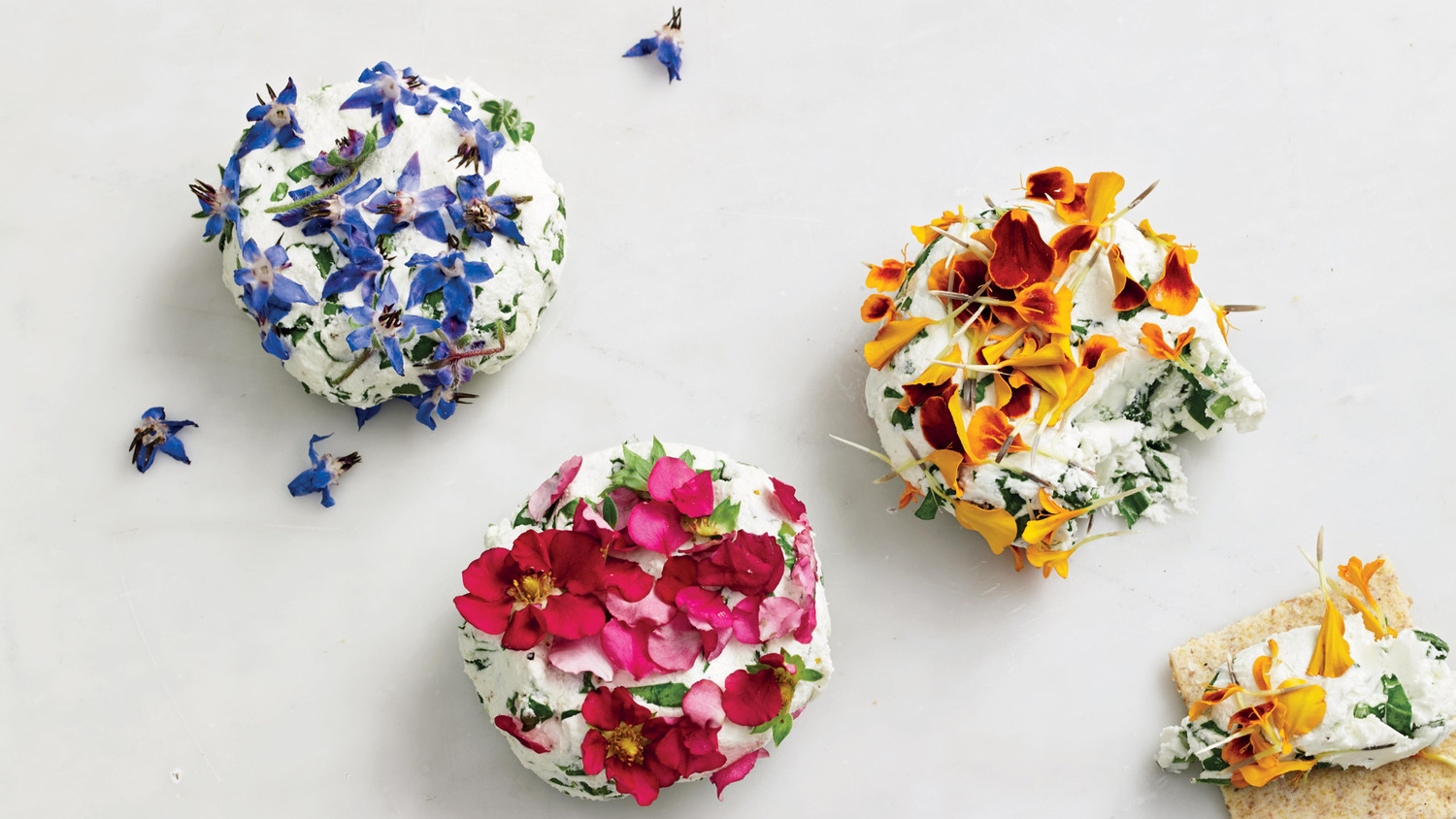 Goat Cheese With Edible Flowers And Arugula