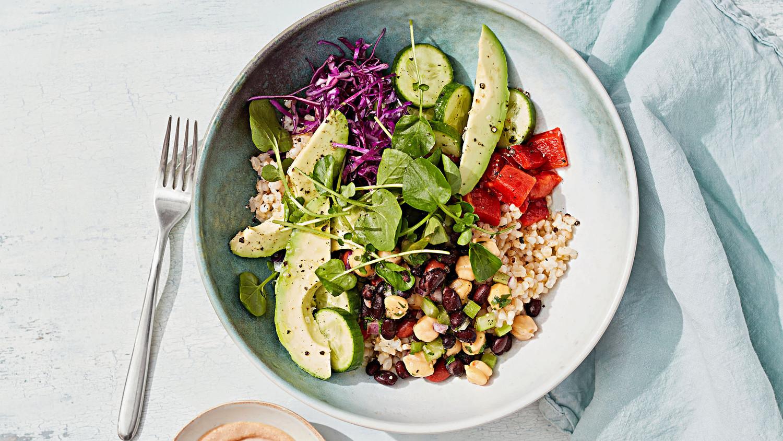 Rice And Bean Salad Bowl With Tahini Sauce