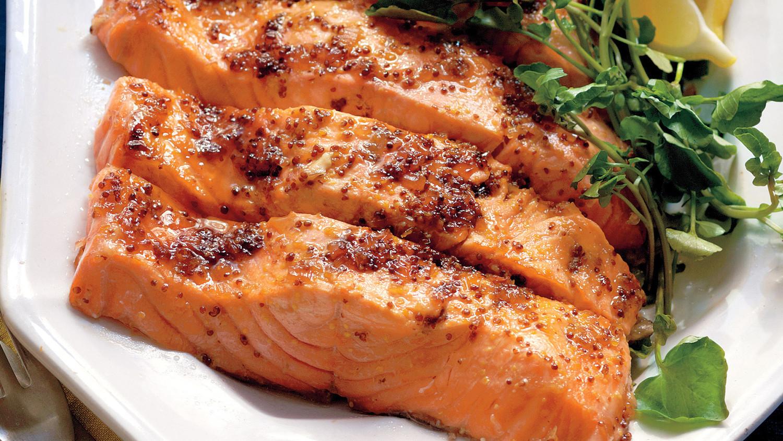 Salmon with Brown Sugar and Mustard Glaze