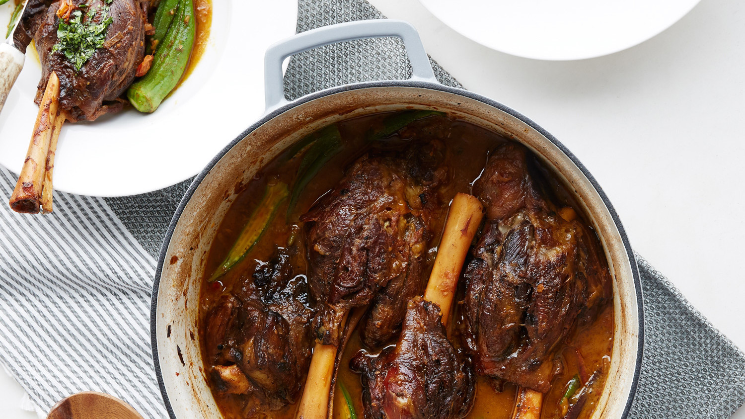 Braised Lamb Shank and Okra Stew