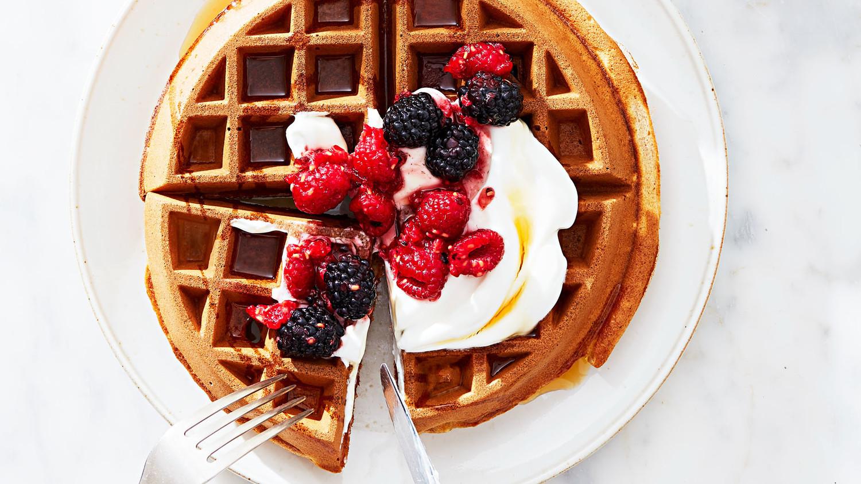 WholeWheat Waffles with Greek Yogurt and Mixed Berries