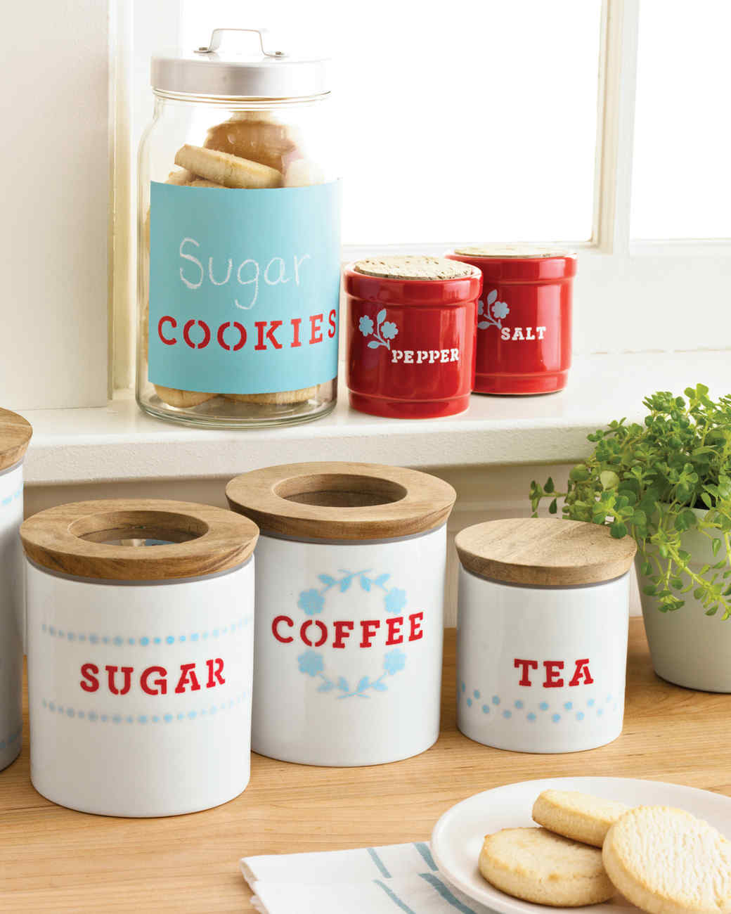 kitchen containers grohe concetto faucet stenciled storage