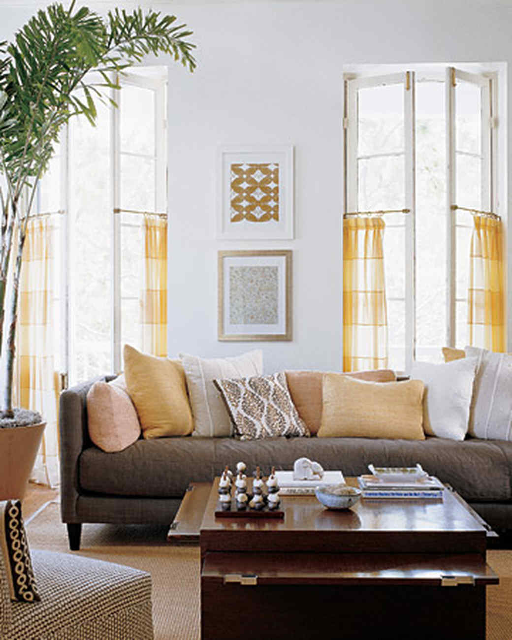 yellow and brown living room decorating ideas bench with storage rooms martha stewart