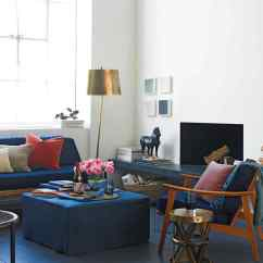 Blue Living Room With Dark Furniture Kitchen To Window Decorating Colors Martha Stewart