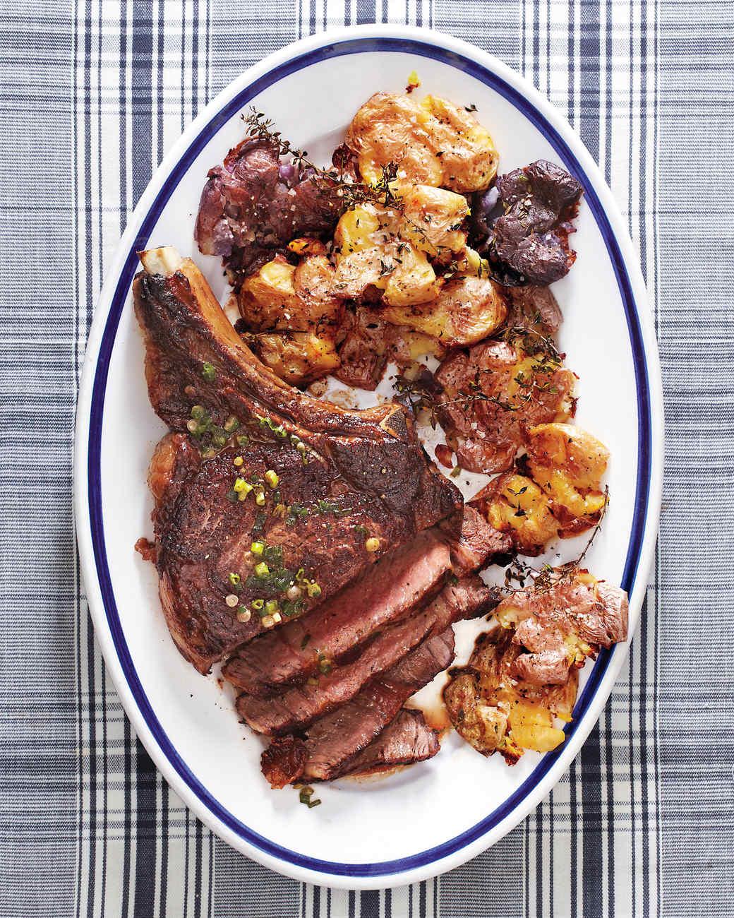 Seared Rib-Eye Steak with Smashed Potatoes Recipe & Video | Martha Stewart