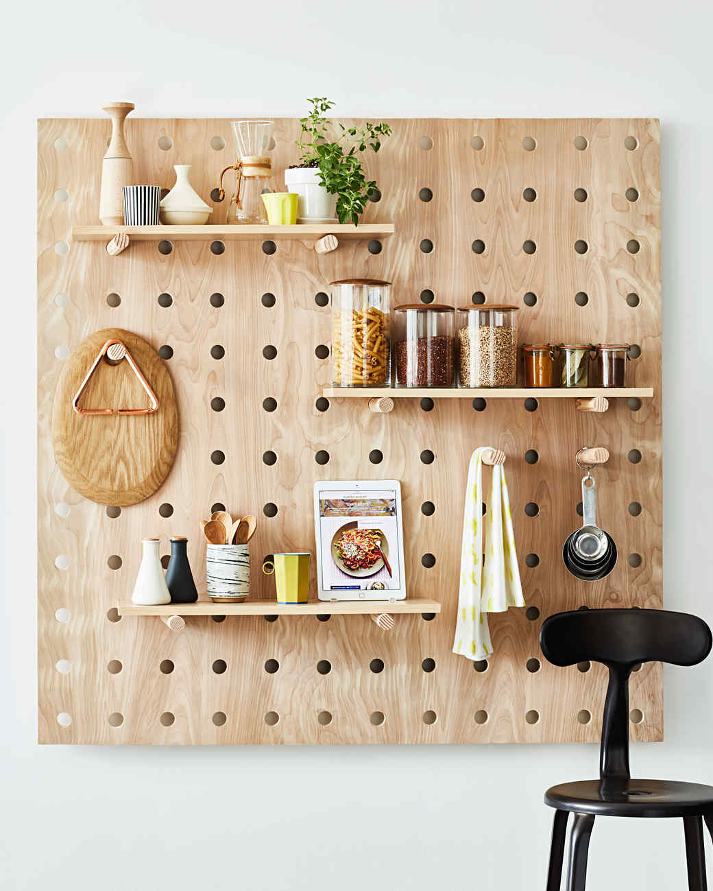 kitchen pegboard inside cabinets small organizing idea space saver peg board