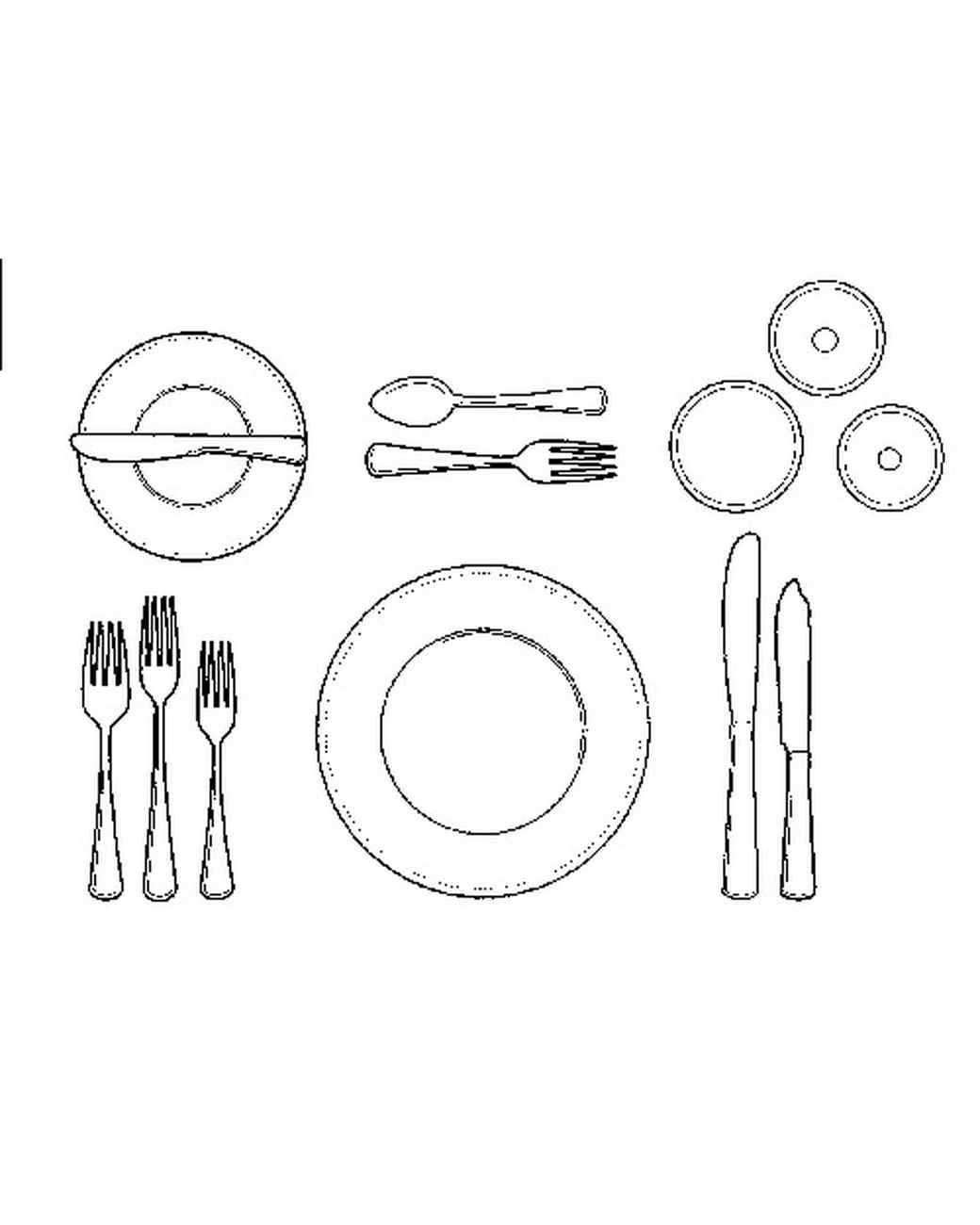 table setting diagram including champagne [ 1040 x 1300 Pixel ]