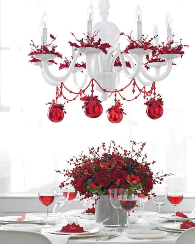 Christmas Table With Chandelier Garland And Bobeche Trim Martha