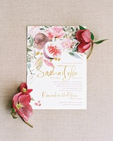 Bright Flower And Pomegranate Spring Wedding Invitation