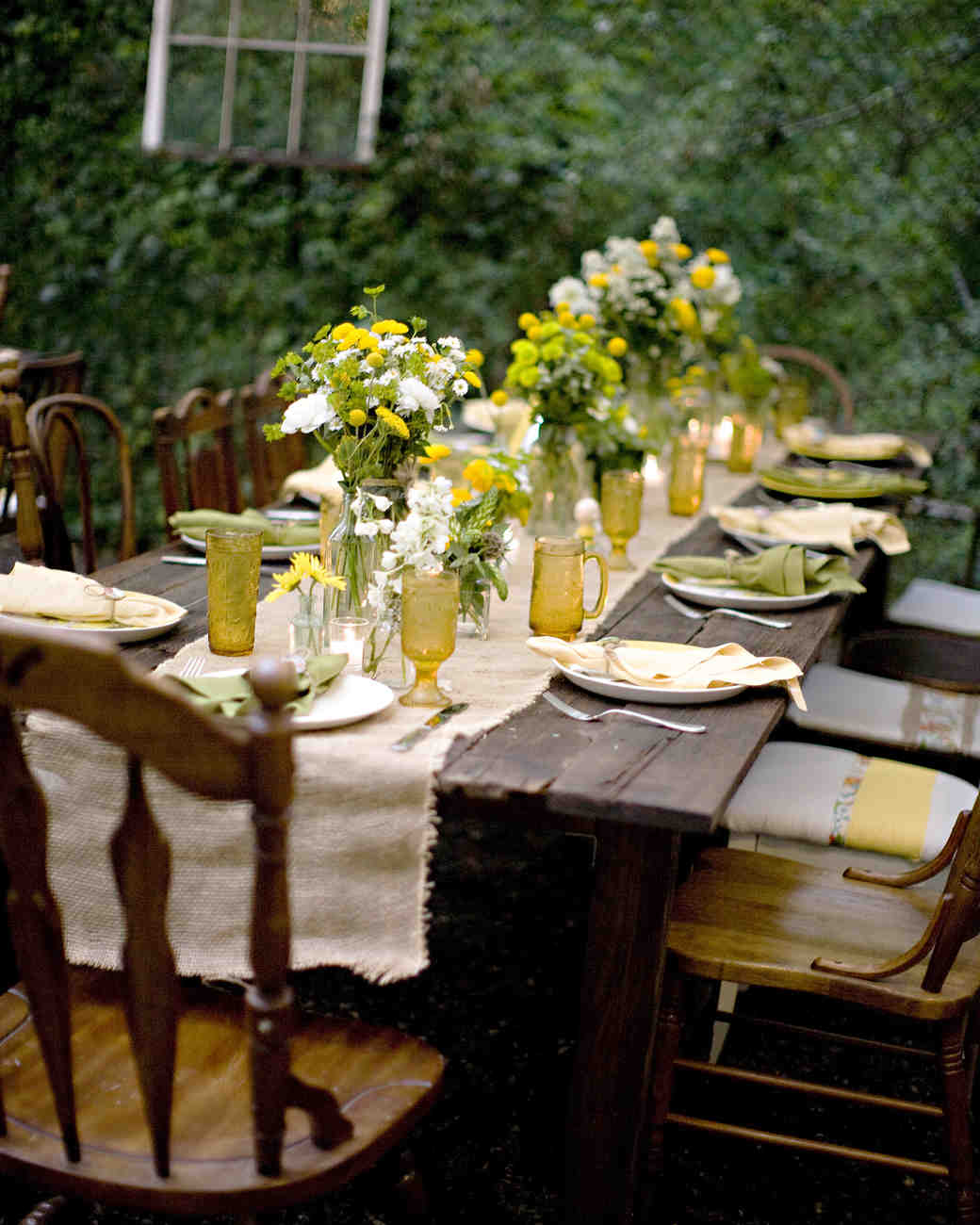 ebay used chairs living room chair covers at target a casual outdoor yellow-and-white wedding in maryland | martha stewart weddings