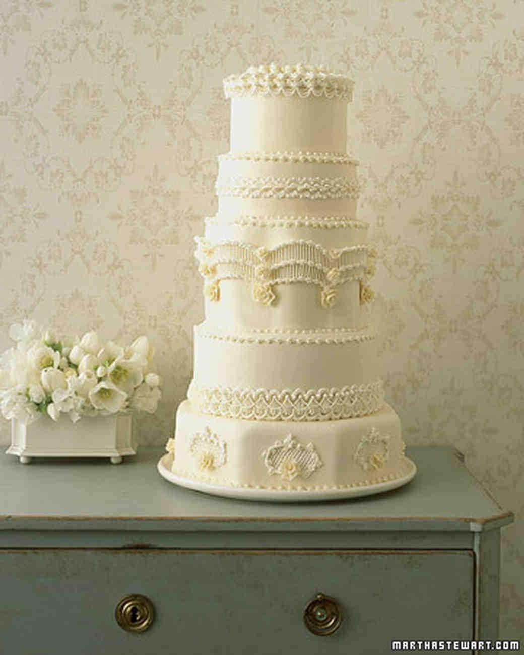 Regal Piped Wedding Cake Recipe  Martha Stewart Weddings