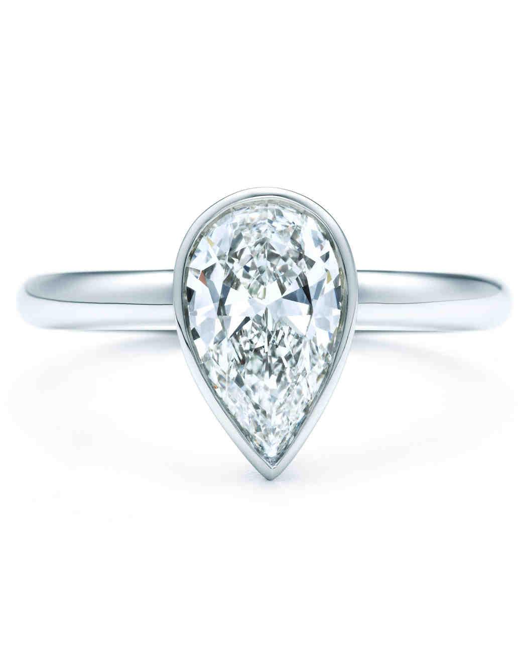 PearCut Diamond Engagement Rings  Martha Stewart Weddings