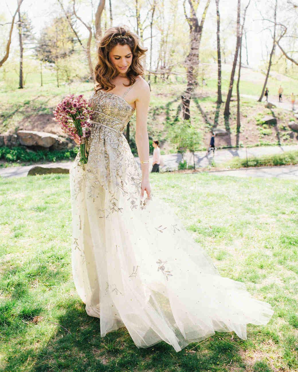 bride in sparkling dress