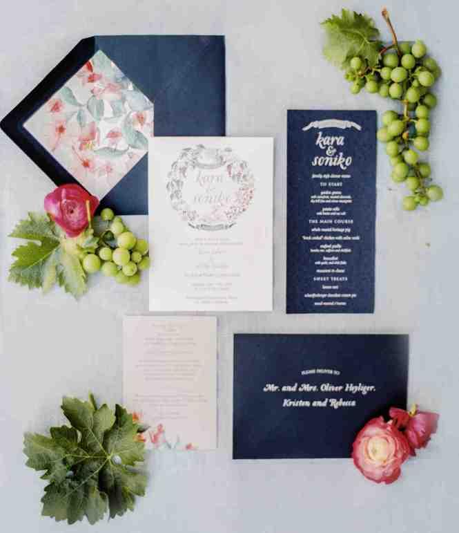Pineapple Letterpress Wedding Invitation Rsvp Postcard