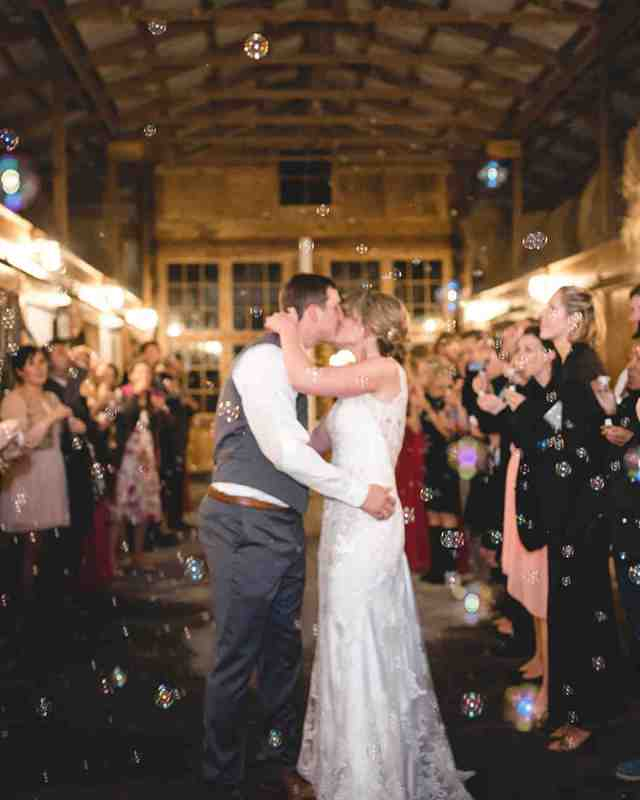 brewery wedding venues couple bubbles exit