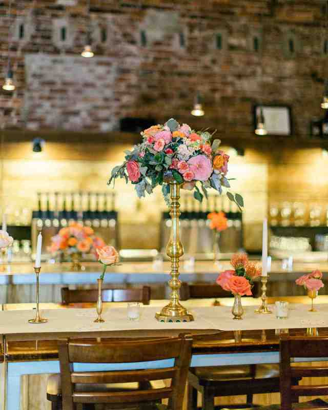 brewery wedding venues floral arrangement table setting
