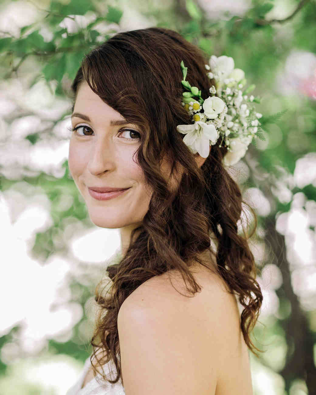 curly wedding hairstyles with flowers