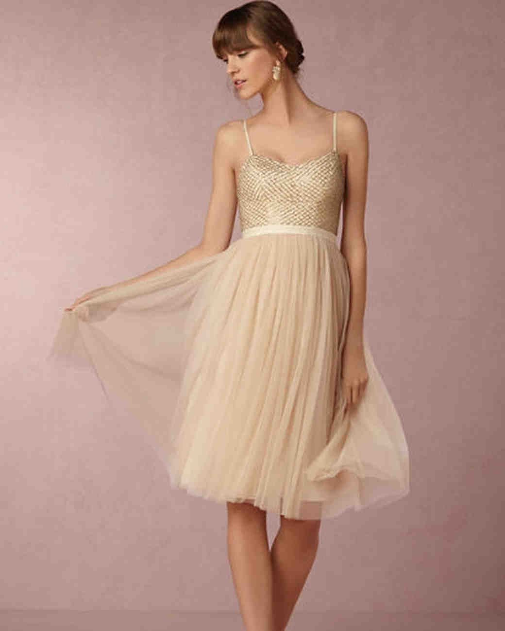 Short Gold Bridesmaid Dresses