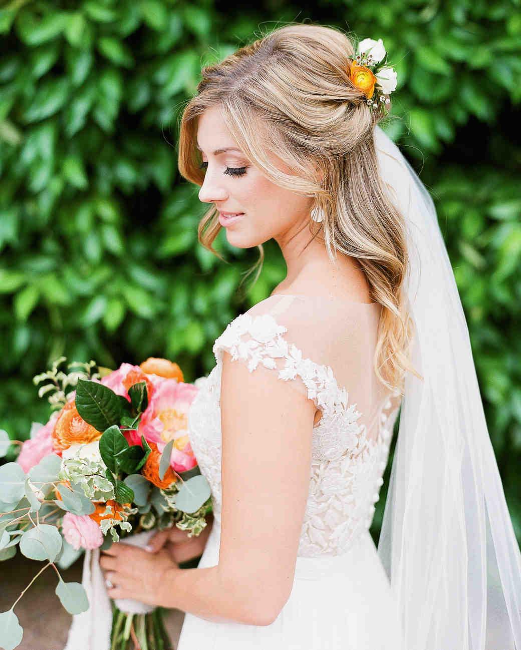 28 HalfUp HalfDown Wedding Hairstyles We Love  Martha