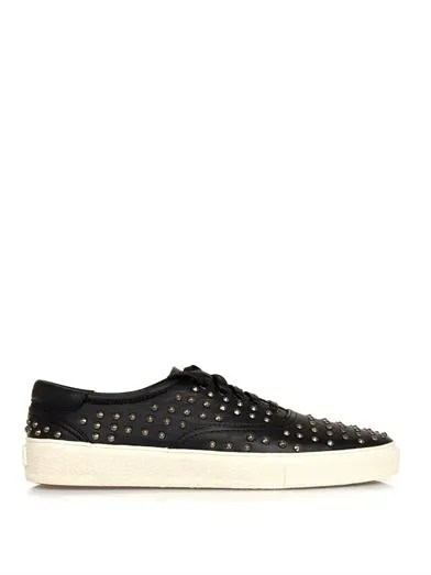 image of Saint Laurent Skate studded leather trainers