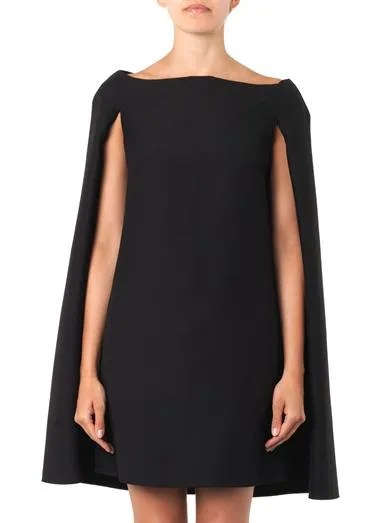 Valentino Wool-blend cape dress