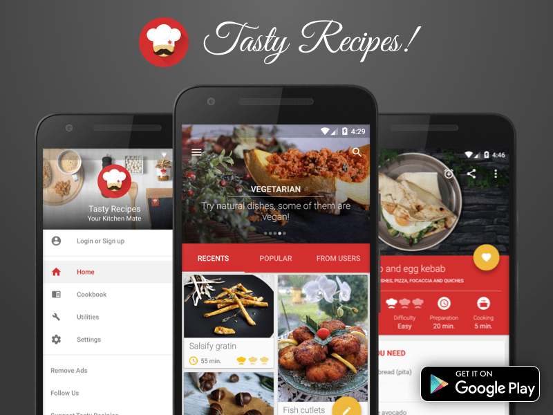 tasty recipes android app ndash materialup