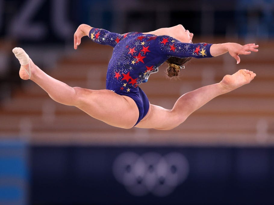 Grace McCallum of Team United States competes in the floor exercise at the Women's Qualification event.