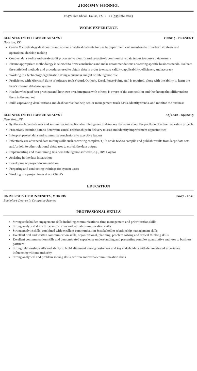 If you recently graduated with a liberal ar. Business Intelligence Analyst Resume Sample Mintresume