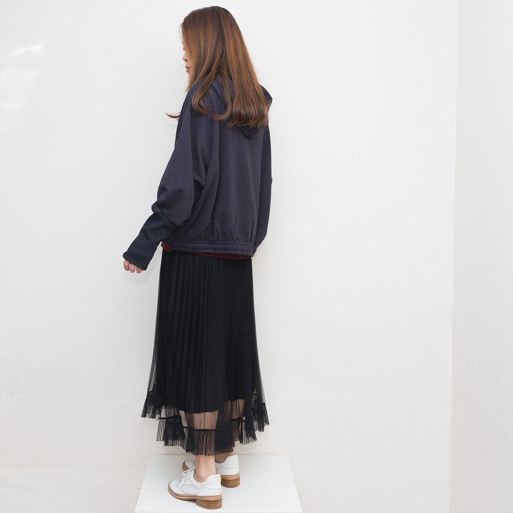 特色束袖修形衛衣-寶藍 - 文青女裝