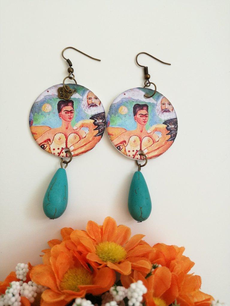 Frida Kahlo orecchini di carta pendenti rotondi  Gioielli