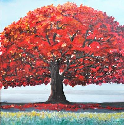 Albero Rosso dipinto a olio su tela  Per la casa e per