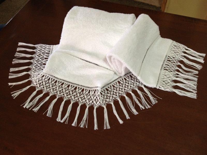 Asciugamani con frangia macram  Per la casa e per te