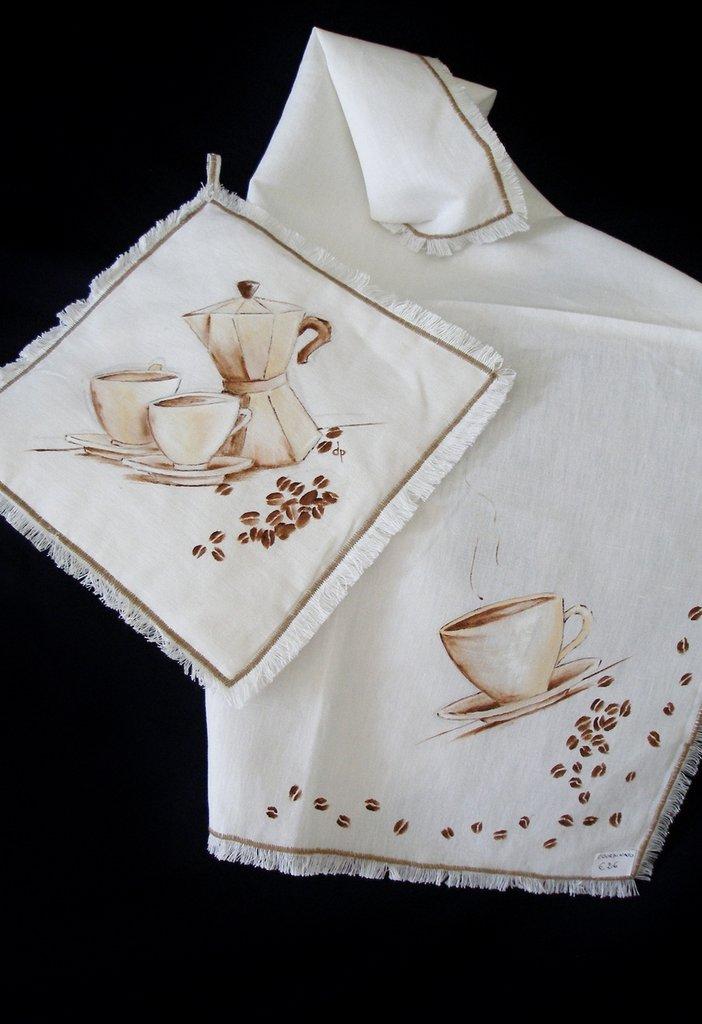 Presina e Strofinaccio dipinti  Caff  Per la casa e per te  Cuc  su MissHobby