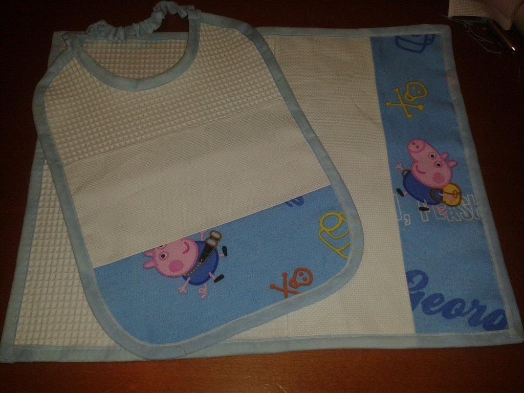 Set asilo Peppa Pig george inserto tela aida punto croce