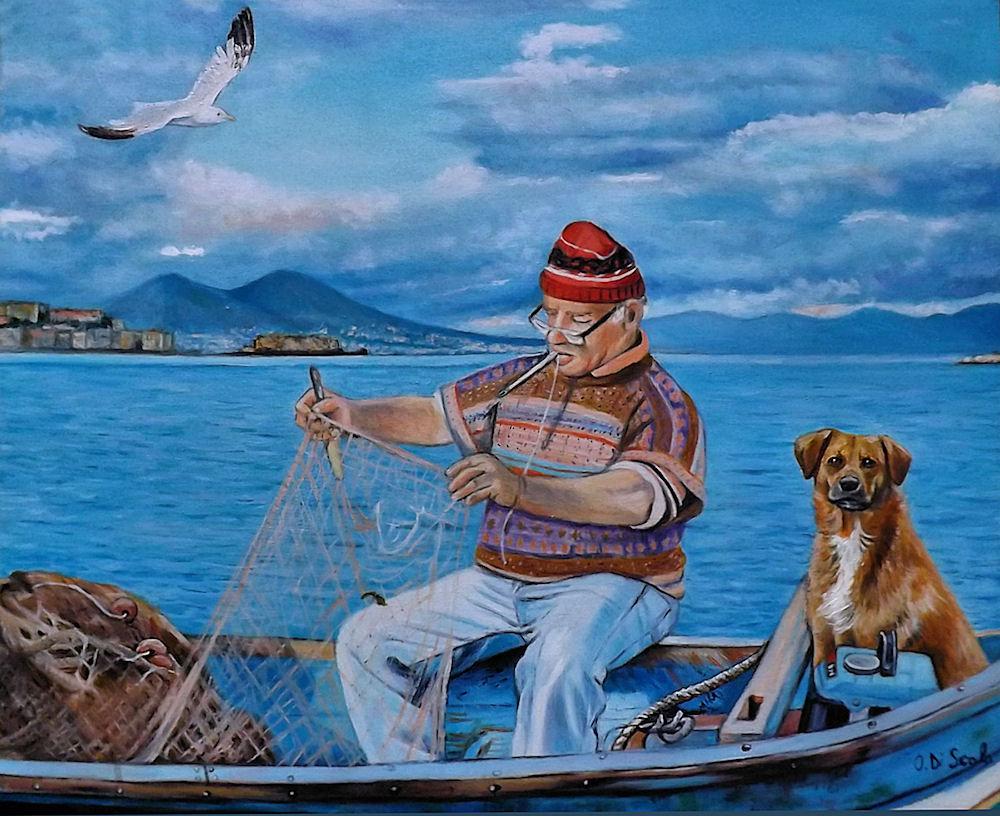 Dipinto pescatore marina cane vesuvio napoli  Per la casa