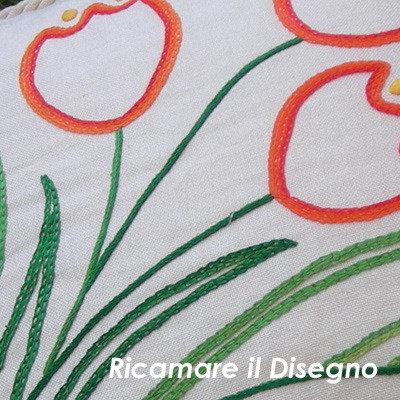 Schema cuscino Tulipano ricamo a punto catenella punto