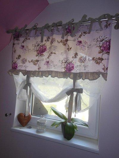 Tenda in lino in stile shabby chic  Per la casa e per te